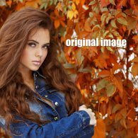 extraction test, autumn leaves, girl hair, clippingfactory