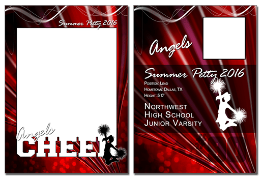 Cheer Cutout Trading Card Photoshop & Elements