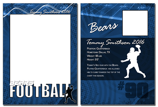 Football Cutout Trading Card Photoshop & Elements