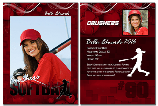 Softball Cutout Trading Card Photoshop & Elements