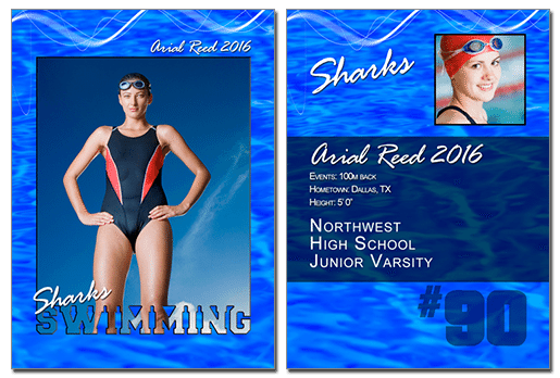 Swimming Cutout Trading Card Photoshop & Elements