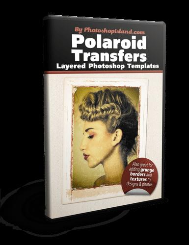 Grunge Frame Polaroid Transfer Layered Photoshop Templates