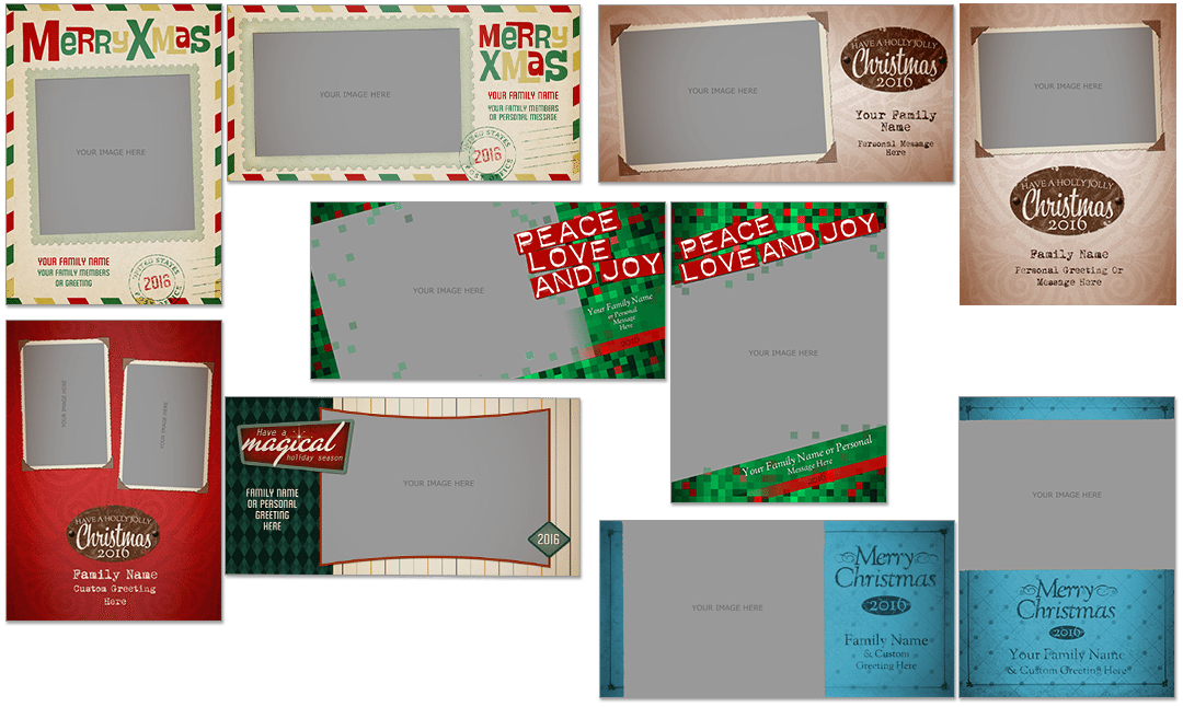 Retro Christmas Cards Photoshop PSD
